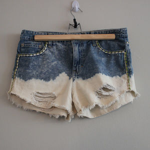Free People Distressed Floral Shorts